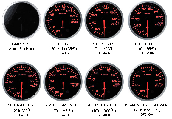 Defi D-Link BF Imperial US 60mm Oil Temperature Gauge Amber