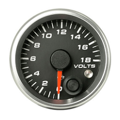 Revolution 2 5/8 Inch Volt Gauge 0-18 with Memory